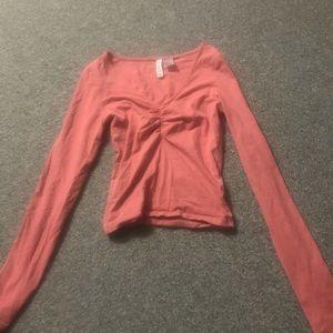 V-Neck Pink Long Sleeve